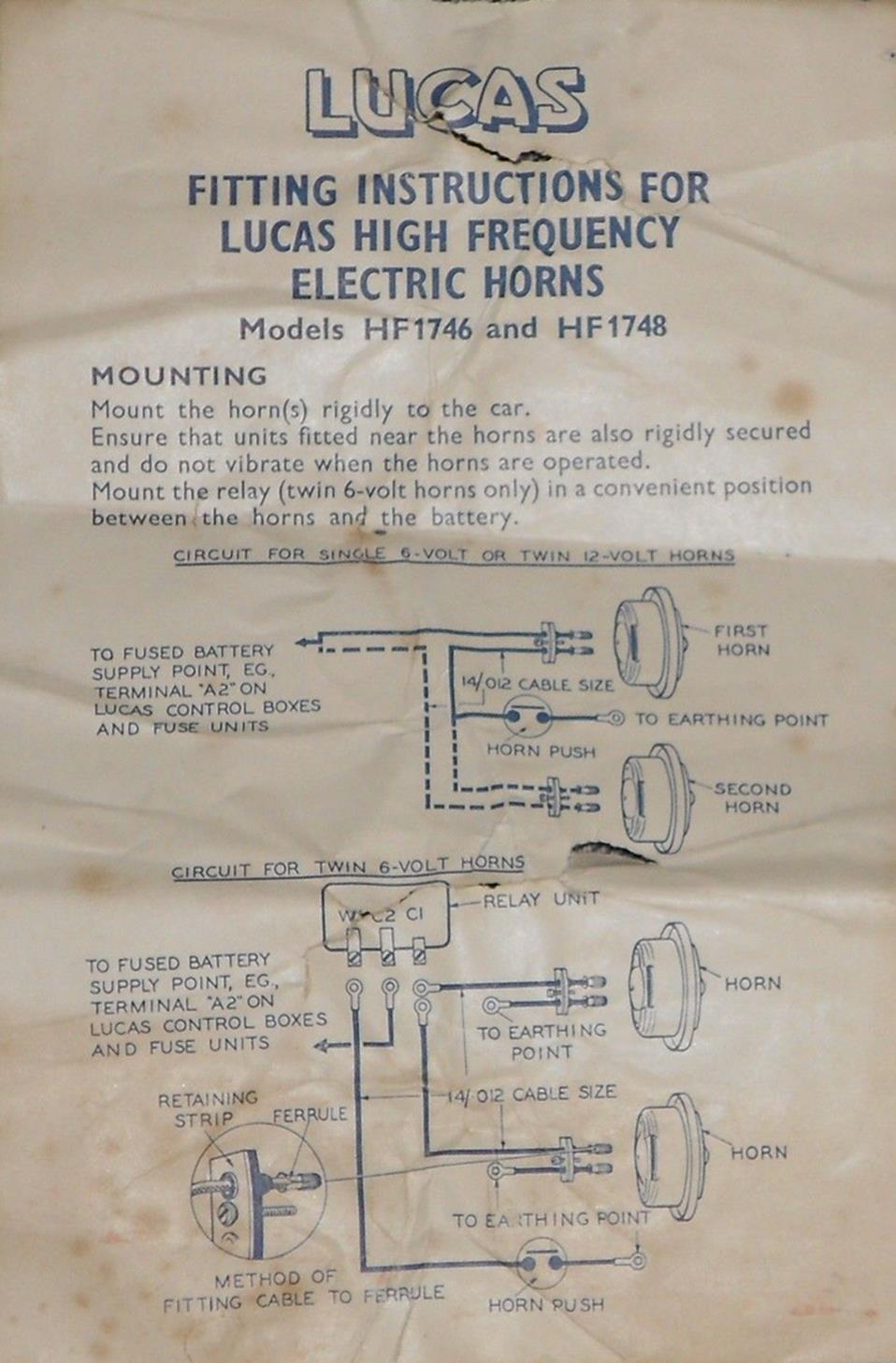 Lucas High Frequency Horn Hf1748 On Jaguars 1953 To 1961 Jaguar Universal Car Wiring Diagram Installation Instruction Fitting Instructions Leaflet For